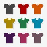 Set of templates colored t-shirts for men