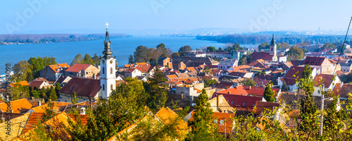 Staande foto Panoramafoto s Panoramic view of Zemun, with church tower in Belgrade, Republic of Serbia