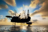 Silhouette,Offshore oil and rig platform
