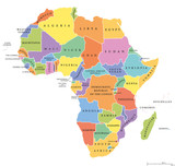 Africa single states political map. Each country with its own color area. With national borders on white background. Continent including Madagascar and island nations. English labeling.