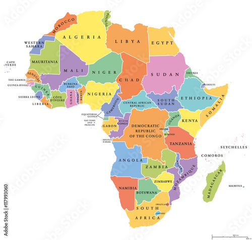 Poster Africa single states political map