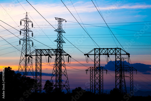 Poster Electric pole, High voltage post and sky in twilight time