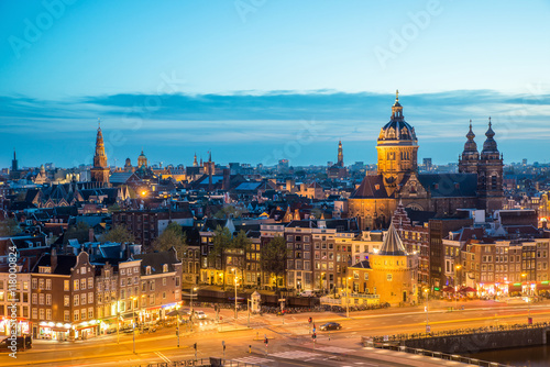 Amsterdam skyline in night, Amsterdam, Netherlands. Poster