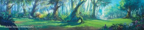 Sunrise morning inside fantasy forest painting illustration