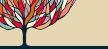 Kolorowe ilustracje przyroda drzewo sztuki na banner