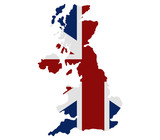 map of great britain with flag - 118007678