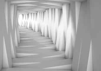 Abstract tunnel in the gray notes. The light at the end of the tunnel