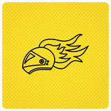 Helmet on fire icon. Motorcycle sport sign.