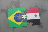 puzzle with the national flag of brazil and syria on a world map background.