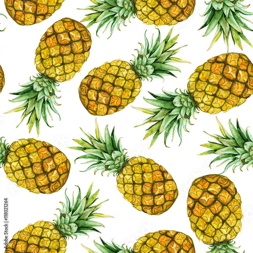 hand drawn watercolor pineapples - 118021264