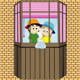 Pranks children on the balcony. Summer season. Vector graphics
