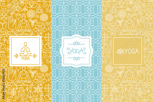 Vector labels and seamless patterns - yoga concepts