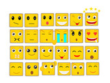 Set of flat rectangle emoticons