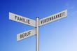 Leinwandbild Motiv Wegweiser Familie-Beruf-Vereinbarkeit