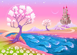 Fantasy landscape with castle © ddraw