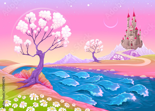 Foto op Canvas Kinderkamer Fantasy landscape with castle