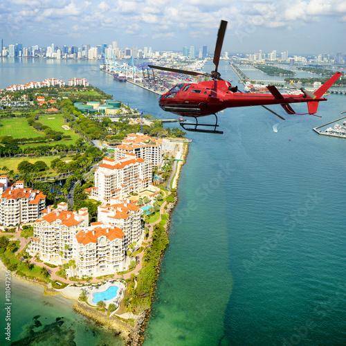 obraz lub plakat Helicopter tour over Miami