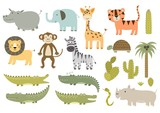 Fototapety Cute isolated safari animals collection