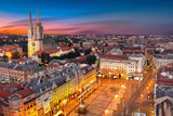 Zagreb Croatia at Sunset. View from above of Ban Jelacic Square