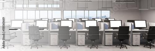 Staande foto Industrial geb. Büro im Verlauf von CAD zu 3D