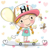 Cute Cartoon Girl with balloon