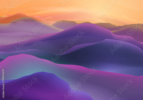 Fotobehang Snoeien Sunset or Dawn Over the Mountains Landscape - Vector Illustration
