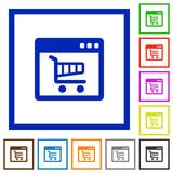 Webshop application framed flat icons