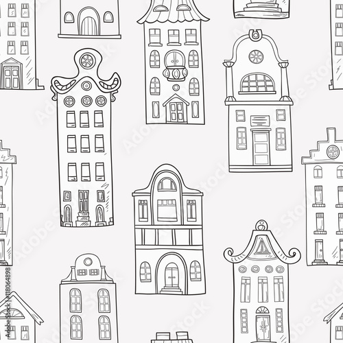 Seamless pattern of hand-painted homes. Monochrome gamma . Pattern for coloring book . Vector graphics . - 118064898