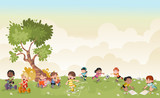 Fototapety Green grass landscape with cute cartoon kids playing. Sports and recreation.