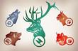 Постер, плакат: Иллюстрация по следам животных Волк Медведь Рысь Лиса Олень
