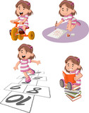 """Cute happy cartoon girl playing. Sports and toys. 116841801,DELETED 117870313,doodle diamond"""""""