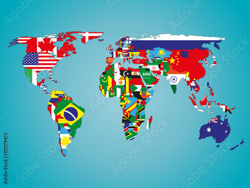 Fototapeta political map of world with flags