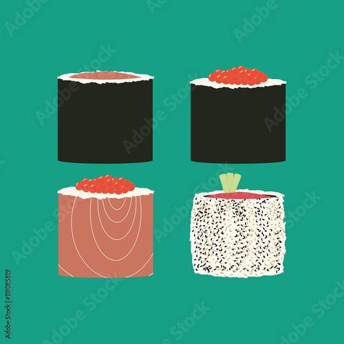 Fototapeta Sushi rolls set illustration