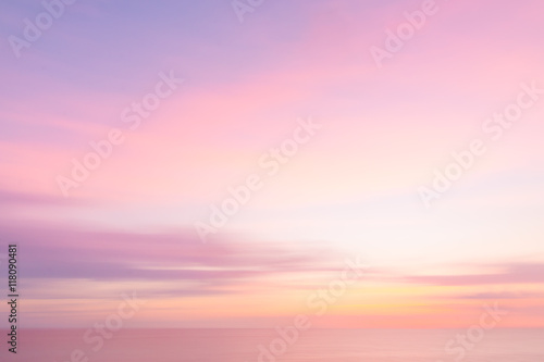 Blurred  sunset sky and ocean nature background Poster