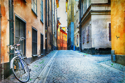 Poster Authentic narrow streets of old town of Stockholm, Sweeden