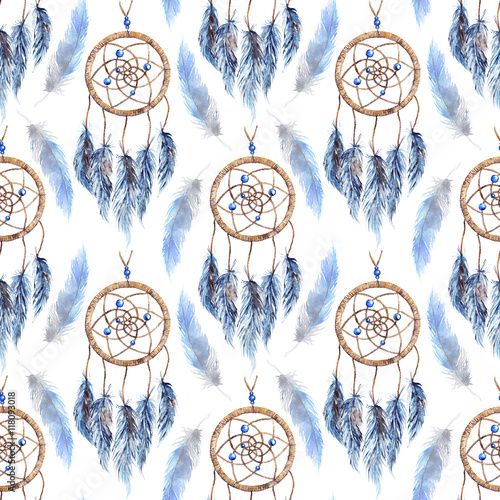 Watercolor ethnic tribal hand made feather dream catcher seamless pattern - 118093018