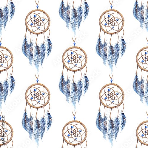 Watercolor ethnic tribal hand made feather dream catcher seamless pattern - 118093237