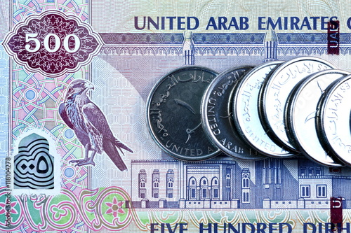 Poster Close up Dirhams currency, United Arab Emirates