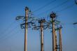 Concrete pylons on blue sky,