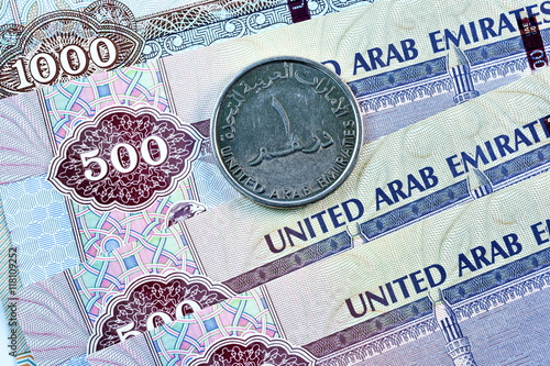 Staande foto Abu Dhabi Close up Dirhams currency, United Arab Emirates