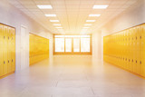 School lobby with yellow lockers