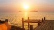 Sunset on the Gulf of Thailand. Wooden fishing pier.