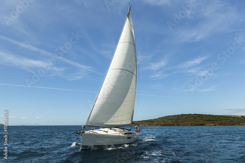 Sailing ship yachts with white sails in the Aegean Sea Plakát