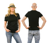 Woman and man wearing blank black shirt front and back