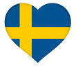 illustration of the flag of Sweden shaped like a heart