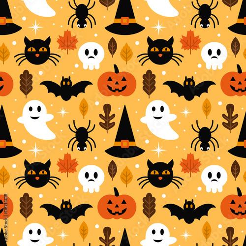 Materiał do szycia Halloween seamless pattern design with ghost, skull, pumpkin and