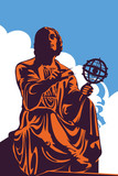 Monument, memorial of astronomer Nicolaus Copernicus, Warsaw, Poland, vector illustration
