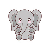 elephant kawaii cute animal little icon. Isolated and flat illustration