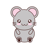 mouse kawaii cute animal little icon. Isolated and flat illustration