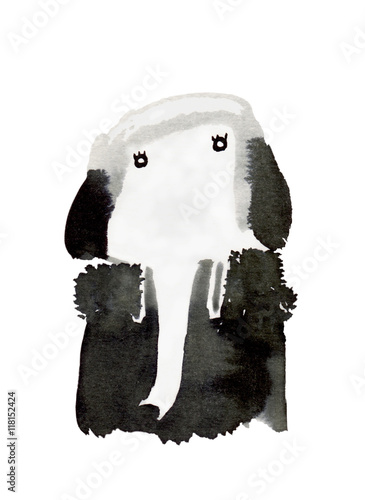 Juliste high society : black and white elephant with watercolor painting